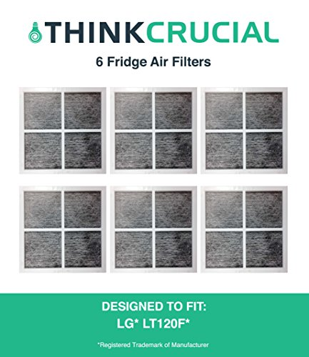 6 LG LT120F Air Purifying Fridge Filters, Part # 9918, ADQ73334008 & ADQ73214404, Designed & Engineered by Crucial Air