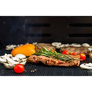 BBQ Grill Mesh - Set Of 2 Heavy Duty Non-Stick BBQ Grill & Baking Mats - 15.75 x 13 Inch - FDA-Approved, PFOA Free Reusable Grill Accessories - Use on Gas, Charcoal, Electric Barbecue