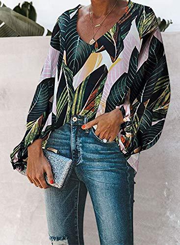 AlvaQ Women V Neck Chiffon Blouses Casaul Balloon Sleeve Floral Print Shirts Tops
