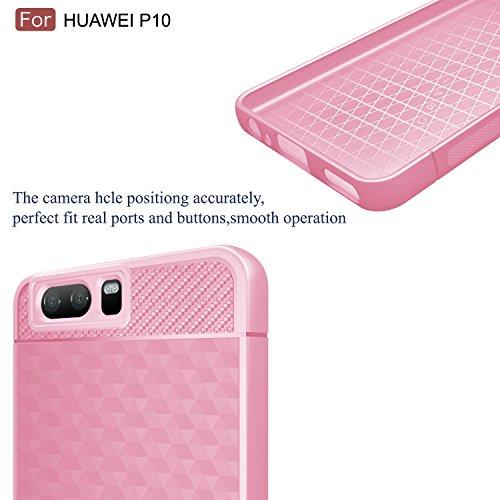 huawei p10 Funda carcasa / caso / case, KuGi ® huawei p10 Funda- de alta calidad caja de TPU suave estilo de esmerilado para huawei p10 teléfono inteligente.(Azul) Rosado