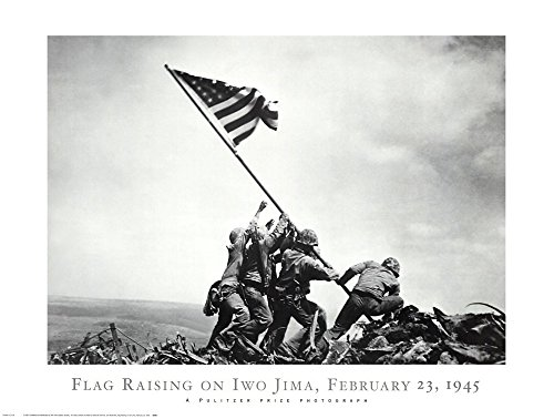 (Flag Raising on Iwo Jima, February 23, 1945 Joe Rosenthal Art Print, 32 x 24 inches)