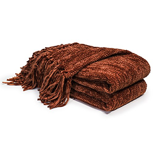 DOZZZ Thick Fluffy Chenille Knitted Throw Blanket with Decorative Fringe and Striped for Couch Cover Sofa Chair Bed Gift Rust