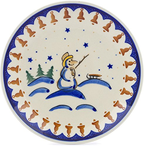 Polish Pottery Snowman - Polish Pottery 7½-inch Dessert Plate (Winter Snowman Theme) + Certificate of Authenticity