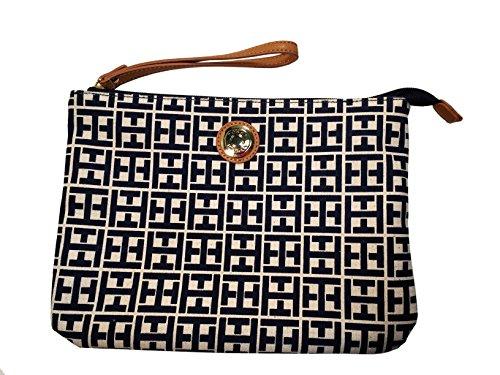 Tommy Hilfiger Large Clutch Handbag (White/Navy Big H Logo)