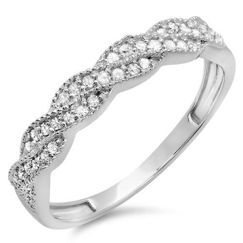 Dazzlingrock Collection 0.25 Carat (ctw) 14K Diamond Ladies Wedding Stackable Band Swirl Ring 1/4 CT, White Gold, Size 8