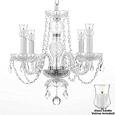"Crystal Chandelier Lighting Chandeliers W/ Candle Votives H 17"" X W 17""- For Indoor / Outdoor Use! Great for Outdoor Events, Hang from Trees / Gazebo / Pergola / Porch / Patio / Tent !"