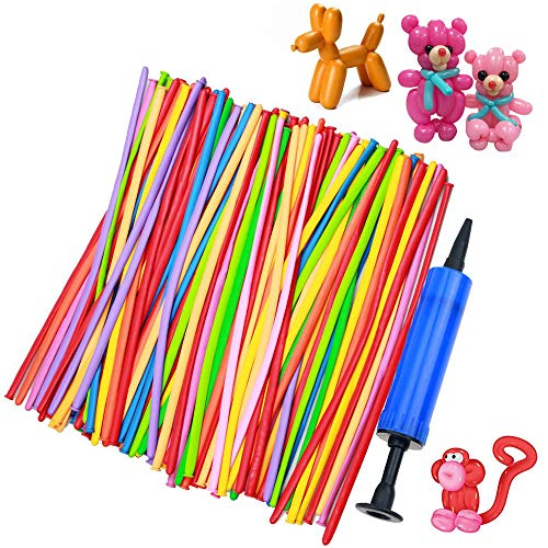 (KUMEED K Twisting Balloons with Hand Pump 100pcs Magic Balloons for DIY Balloon Animals Party Fun Activity Birthdays, Clowns, Weddings Decorations)