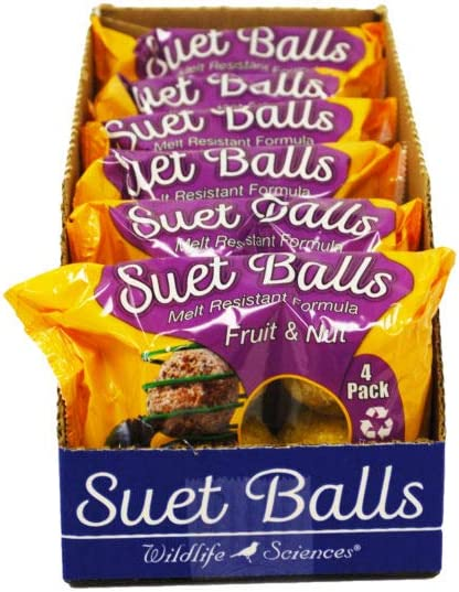 Wildlife Sciences Melt Resistant Suet Balls 24 Pack, 6 Wrapped Packs of 4 Suet Balls for Wild Birds