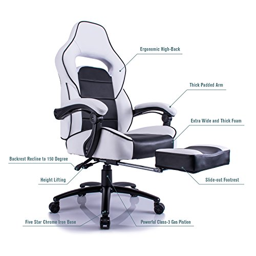 Aminiture Executive High Back Sport Racing Style Gaming Office Chair Recliner PU Leather Swivel Computer Desk Armchair with Footrest (White) by Aminiture (Image #3)