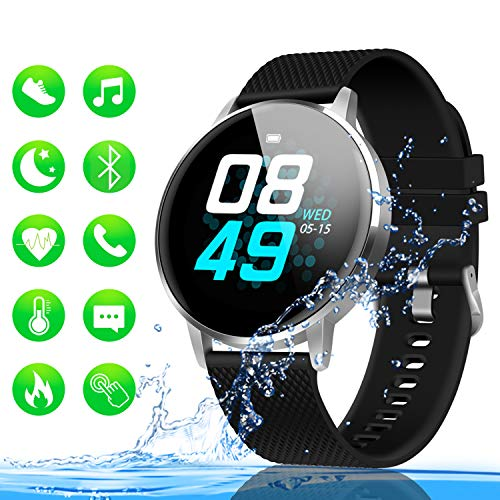 GOOJODOQ Fitness Tracker with Heart Rate Monitor, 1.22'' Color Screen Waterproof Smart Watch, Step Counter, Sleep Monitor, Calorie Counter, Smart Reminder Fitness Watch for iPhone and Android Phones