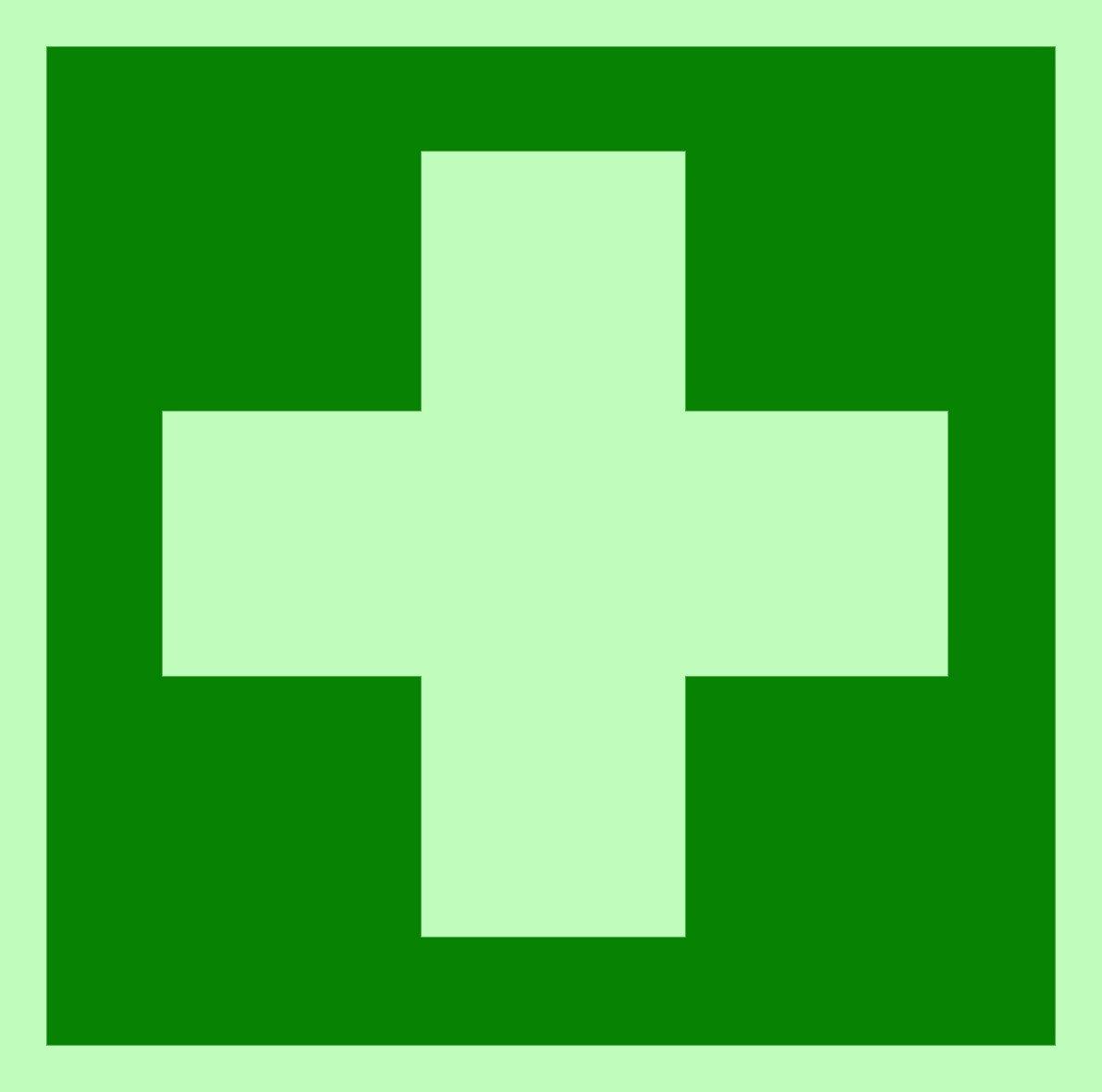 Rettungszeichen Symbolschild Erste Hilfe DIN Folie nachleuchtend &. selbstklebend 100x100mm Andris