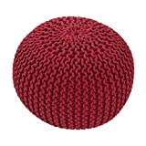 Jaipur Solid Pattern Red Cotton Pouf, 20-Inch x 20-Inch x 14-Inch, Tomato Puree Spectrum