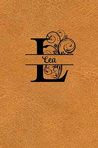 Split Letter Personalized Name Journal - Lea: Elegant Flourish Capital Letter on Light Brown Leather Look Background