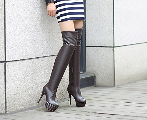Carolbar Women's Sold Color Fashion High Heel Stiletto Platform Long Boots Brown ntcnpxRkw8