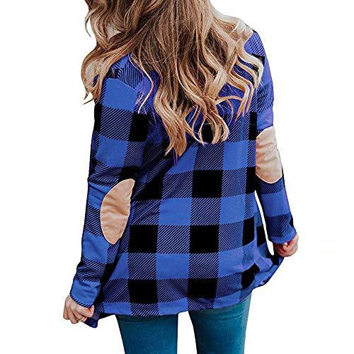 Patch Veste Casual Plaid Parkas Devant Buffalo Longues Zhrui Drapé Manches Cardigan Outwear Femmes Ouvert Coude À Survêtement Ladies WIwqgY6