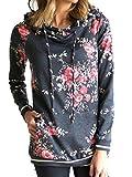 Famulily Women's Floral Printed Casual Long Sleeve Hoodie Pullover Sweatshirts (X-Large, Dark grey-2)