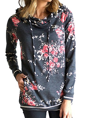 Famulily Women's Floral Printed Casual Long Sleeve Hoodie Pullover Sweatshirts (Large, Dark grey-2)