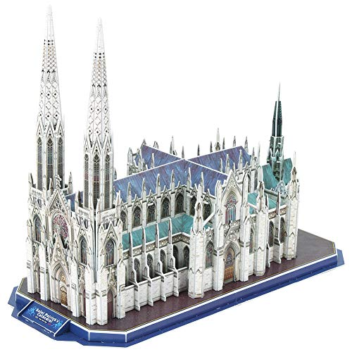 CubicFun 3D New York Cathedral Puzzles Architecture Building Model Kits Toys for Adults and Teens, St.Patrick's Cathedral