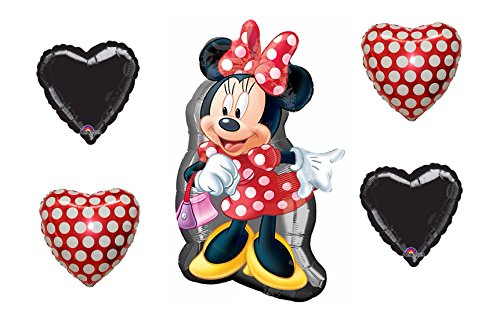 nnie Mouse Full Body Shape 32 Mylar Foil Balloon, 2 Polka Dot and 2 Black Hearts ()