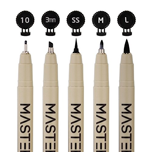 Set-of-16-Black-Master-Markers-Micro-Pen-Fineliner-Ink-Pens-16-Pens-with-Micro-Fine-Point-Chisel-Brush-Calligraphy-Tip-Nibs-Professional-Technical-Writing-Drawing-Pens-Artist-Illustration