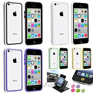 XMAS SALE!!! Hot new 2014 model TPU Rubber Gel Soft Bumper Case+Dash Holder+Home Button Sticker For iPhone 5CCHOOSE COLOR