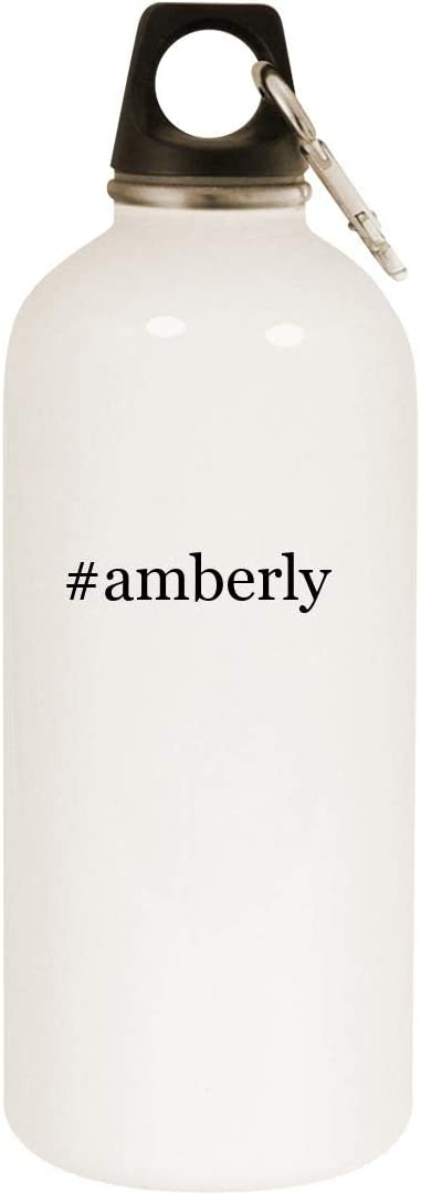 #amberly - 20oz Hashtag Stainless Steel White Water Bottle with Carabiner, White