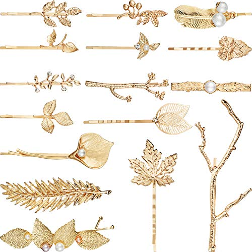 16 Pieces Gold Metal Leaf Hair Clips Minimalist Hair Barrettes Bobby Pins for Women and Girls Hair Accessories (Style Set - Leaf Gold 16
