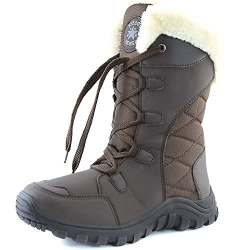 DailyShoes Women's Comfort Round Toe Mid Calf Hiking Outdoor Ankle High Eskimo Winter Fur Snow Boots, 10