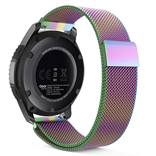 Price comparison product image Gear S3 Watch Band,  MoKo Milanese Loop Stainless Steel Mesh Smart Watch Strap for Samsung Gear S3 Frontier / S3 Classic / Moto 360 2nd 46mm Smartwatch,  Colorful (NOT FIT S2 & S2 Classic & Fit2)