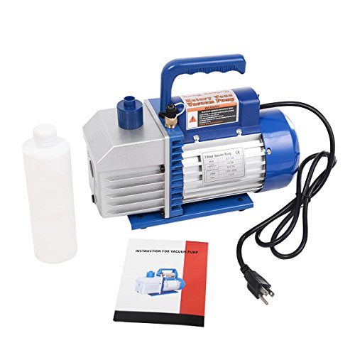 Vane Motor Rotary (Dual 2 Stage 4CFM 1/3HP Rotary Vane Deep Vacuum Pump HVAC AC Air Tool R410a R134 - By Choice Products)