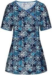 Msaikric Printed Scrub Tops Women Holiday Scrubs V-Neck Short Sleeve Nurses Tshirt Tops Medical Uniforms Tunic
