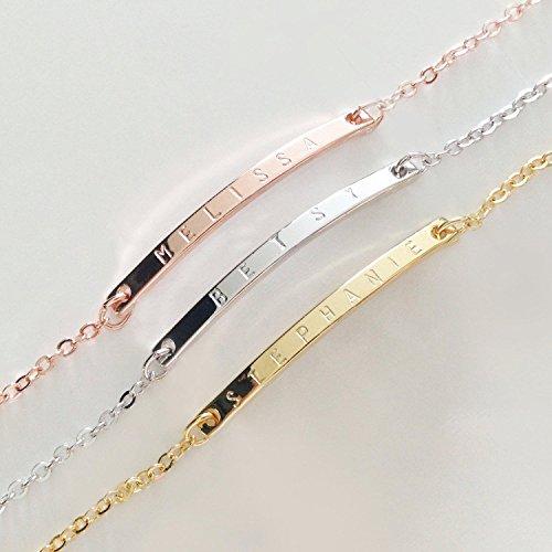 Best Christmas Danties: Dainty Name Bar Bracelet In Handmade Initial Jewelry