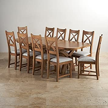 f67c5309ec Hercules 6ft Extending Dining Set in Rustic Solid Oak & 10 Cross Back Plain  Grey Fabric Chairs: Amazon.co.uk: Kitchen & Home