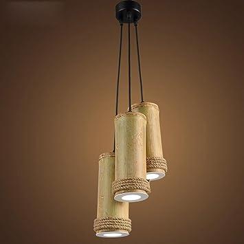 BJVB Colgante de Madera ecológico Original caña lámpara ...