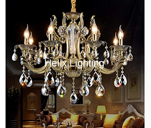 Modern Brass Chandelier Bronze Finish Crystal Chandelier Lamp Crystal Luster Light Fixture Villa Cristal Lighting (Bronze Finish 8l Chandelier)