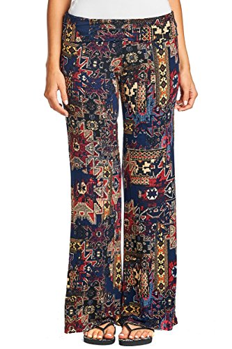 Women's Printed Palazzo Pants: NAVY PATCHWORK - Outlet Women