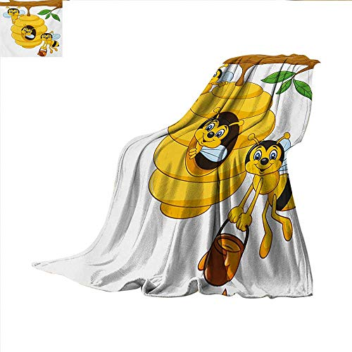 (Nursery Throw Blanket Branch of Tree with Beehive and Bees Honey Funny Insect Hardworking Mascot Velvet Plush Throw Blanket 60 x 60 inch Yellow Brown Green)