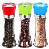 Pepper Mill Grinder Salt Pepper Shaker with 5 Grade Adjustable Ceramic Rotor Set of 3 Salt Grinders and Pepper Mill Shaker Set for Cooking and BBQ Spices 6 Oz