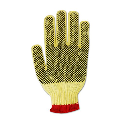 Magid Glove & Safety C93KVPR-9 Magid Cut Master C93KVPR 100% Kevlar PVC Dotted Gloves with Cotton Edge - Cut Level 3, 6, Yellow, 9 (Pack of 12) by Magid Glove & Safety (Image #1)