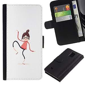 All Phone Most Case / Oferta Especial Cáscara Funda de cuero Monedero Cubierta de proteccion Caso / Wallet Case for Samsung Galaxy Note 4 IV // Spaghetti Woman