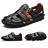 ZHShiny Men Summer Sports Sandals Leather Outdoor Trail Beach Shoes Casual Size 11 12 13