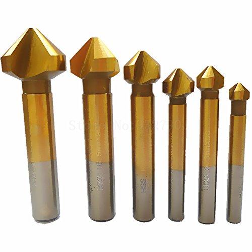 6Pc 90 Degree Hss Countersink Drill Bit Chamfer Cutter Titanium Coated 3 Flute Counter Sink Chamfering Cutter Drill Bit End Mill 1- (Counter Sink End Mill)