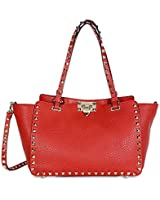 Valentino Rockstud Small Double Handle Leather Tote Bag - Rosso
