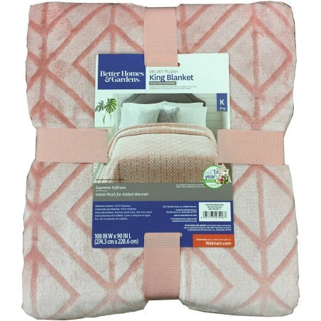Better Homes and Gardens Velvet Plush King Blanket, Blush Texture from Better Homes & Gardens