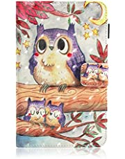Ostop Compatible with Samsung Galaxy Tab A 8.0 2019(SM-P200/P205) Tablet Case,Slim Stand Folio Cover PU Leather Magnetic Flip Wallet Case with Card Slots and Pencil Holder,Purple Owl