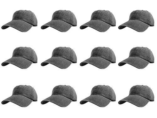 Gelante Baseball Caps 100% Cotton Plain Blank Adjustable Size Wholesale LOT 12 Pack (Denim: Black)