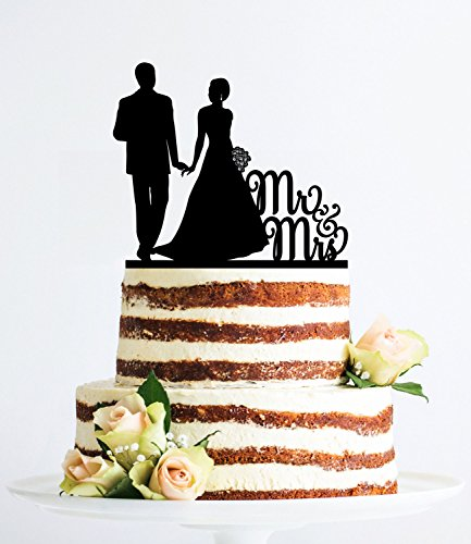 (Mr And Mrs Wedding Cake Topper Silhouette Couple Classic Elegant Custom Cake Topper Wedding Anniversary Party Favors Wedding Gifts For Bride And Groom)