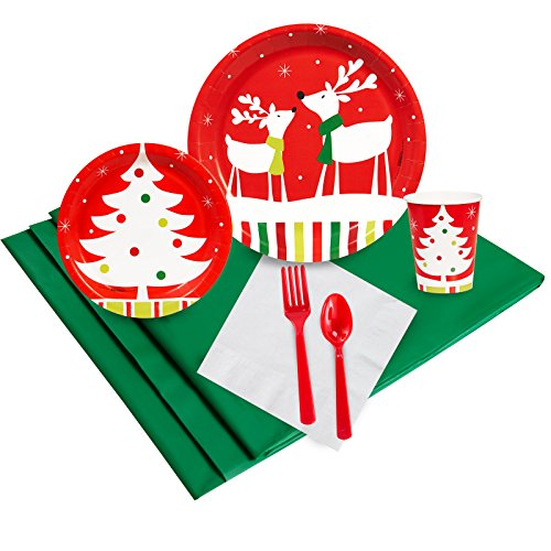 BirthdayExpress Merry Christmas Reindeer Party Supplies - Plate Napkin Cup Party Pack for 24