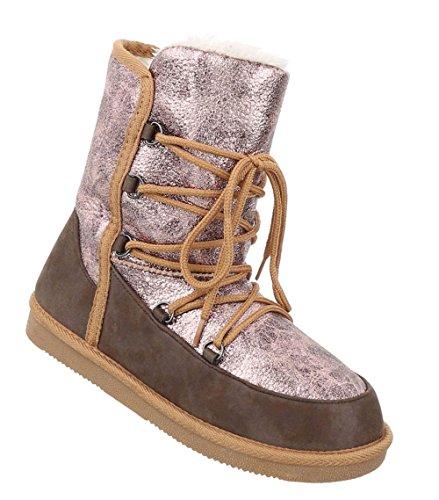 Damen Schuhe Stiefeletten Warm Gefütterte Boots Braun