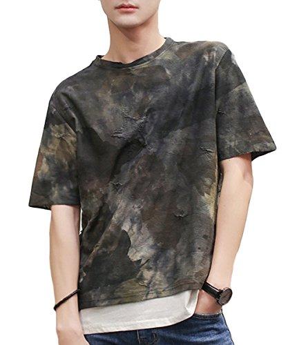 仕出しますワゴン世界記録のギネスブック[meryueru(メリュエル)] カモフラージュ レイヤード デザイン 迷彩 ヴィンテージ 起毛 Tシャツ トップス メンズ